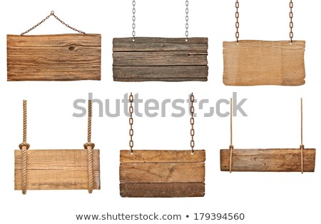wooden signboard on chain stock photo © oakozhan