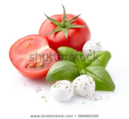 Mozzarella paradicsomok bazsalikom közelkép koktélparadicsom friss Stock fotó © Digifoodstock