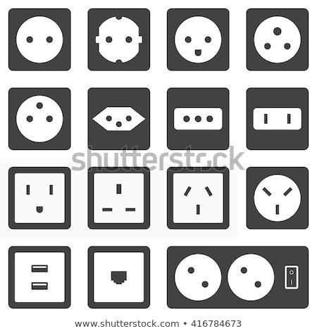 Usa elektrische stopcontact icon oranje zwarte Stockfoto © angelp