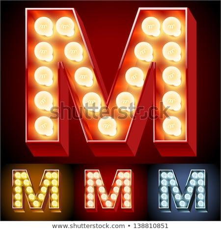 Mektup m lamba bağbozumu ampul Stok fotoğraf © popaukropa