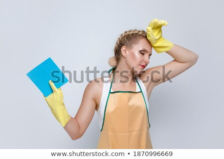 cansado · feminino · empregada · limpeza · piso - foto stock © andreypopov