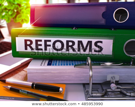 Reforms on Green Office Folder. Toned Image. 3D. Stock photo © tashatuvango