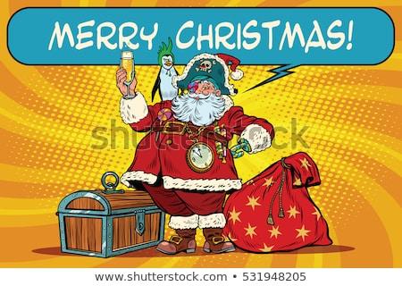 Zdjęcia stock: Święty · mikołaj · worek · ceny · nowy · rok · christmas · pop · art