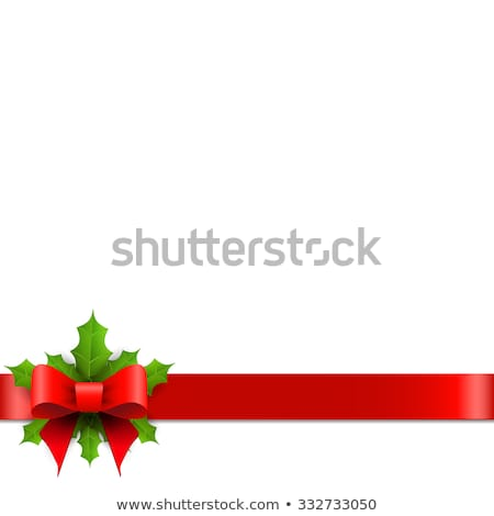 Christmas Ribbon Bow With Holly Berry And Red Background Stock photo © cammep