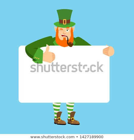 Stock photo: Leprechaun holding banner blank. gnome and white blank. magic gr