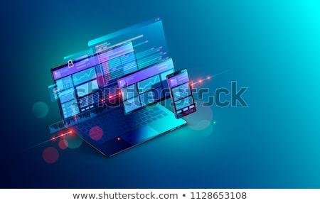 データ · 管理 · ノートパソコン · 画面 · クローズアップ · 着陸 - ストックフォト © tashatuvango
