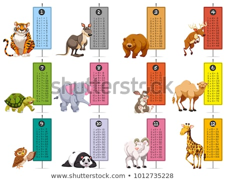 Animal times table on white background Stock photo © bluering