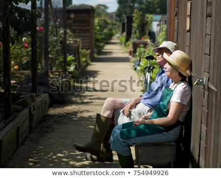 Senior couple resting in an allotment Stock photo © IS2
