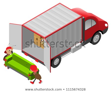 Fast delivery of goods. Ants loads furniture in van Stock photo © orensila