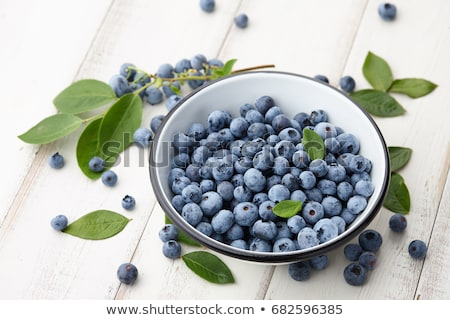 freshly picked blueberries on wooden board stock photo © melnyk