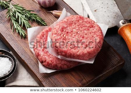 Nyers házi grill marhahús hamburger fűszer Stock fotó © DenisMArt