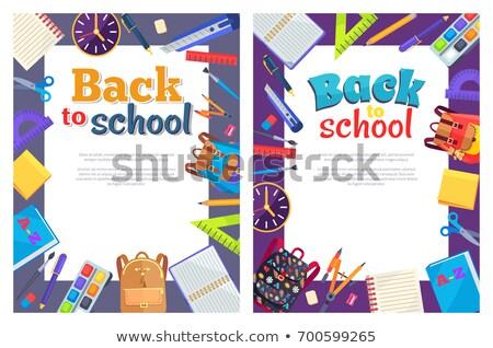 terug · naar · school · poster · plaats · tekst · frame · schrijfbehoeften - stockfoto © robuart