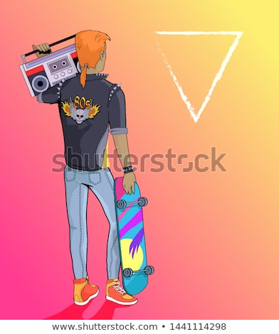 80s Forever Punk and Rock Music Banner with Boy Stock photo © robuart