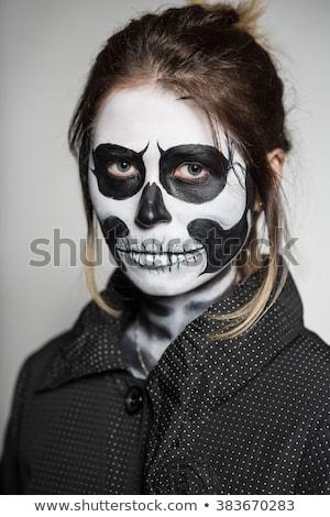 mulher · pintado · como · retrato · halloween - foto stock © acidgrey
