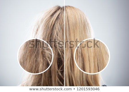Woman's Hair Before And After Hair Straightening Stock photo © AndreyPopov