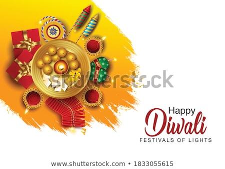 happy diwali elegant design with diya and rocket cracker stock photo © sarts