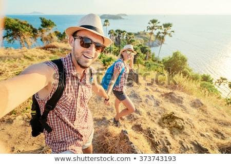Reise · Wandern · glücklich · Paar · Wanderung · Foto - stock foto © dolgachov