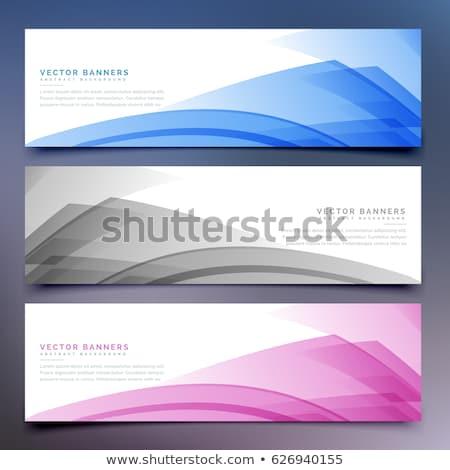 Elegancki falisty streszczenie banner zestaw projektu Zdjęcia stock © SArts