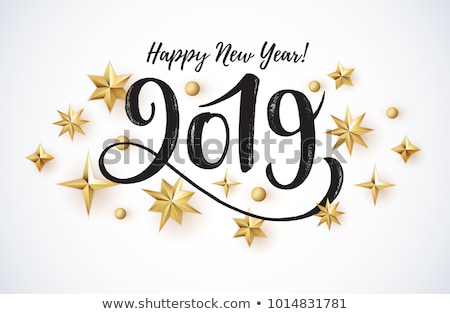 Golden Happy New Year sign 2019 Holiday Vector Illustration. Shiny Gold Lettering Composition With S Stock photo © MarySan