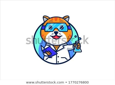 cartoon smiling scientist kitten stock photo © cthoman