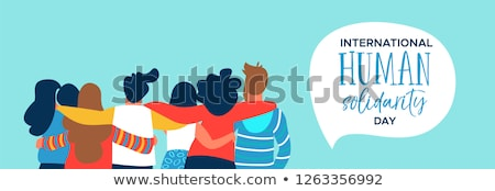 Human Solidarity card of diverse friend group hug Stock photo © cienpies