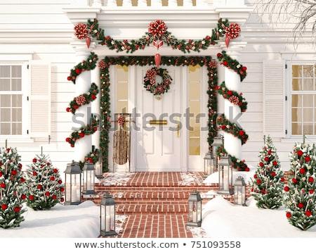 Fehér díszített karácsony veranda fenyő fák Stock fotó © IvanDubovik
