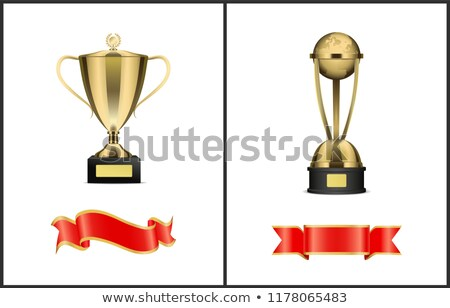 Triumphal Statuette and Blank Silk Ribbons Set Stock photo © robuart