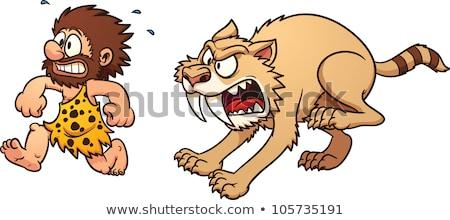 Bać cartoon jaskiniowiec ilustracja patrząc człowiek Zdjęcia stock © cthoman