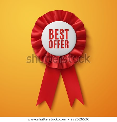 red award ribbon vector certificate banner celebration tag advertising event 3d realistic illust stock photo © pikepicture