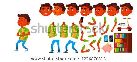Asian chłopca zestaw wektora szkoła podstawowa dziecko Zdjęcia stock © pikepicture
