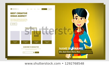 Foto d'archivio: Self Presentation Vector Asian Female Introduce Yourself Or Your Project Business Illustration