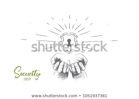 schild · muur · graffiti · witte · muur · home - stockfoto © rastudio
