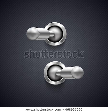 Metaal schakelaar af knop teken zilver Stockfoto © SArts