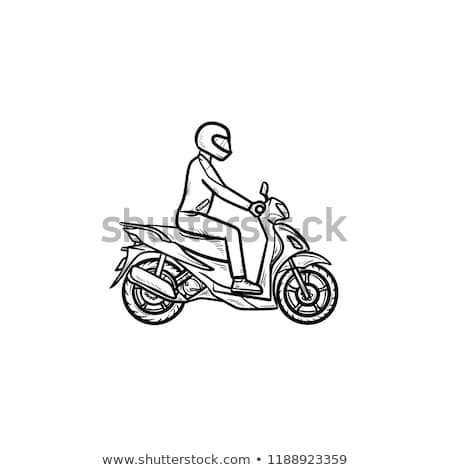 Motorcyclist riding motorbike hand drawn outline doodle icon. Stock photo © RAStudio
