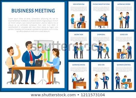 Business Meeting of Team Negotiation Poster Set Stock photo © robuart