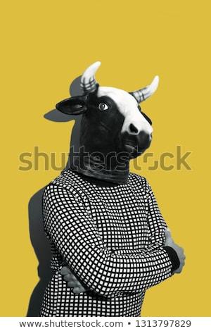 Foto d'archivio: Giovane · mucca · maschera · giovani · uomo