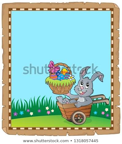 pergamino · Conejo · de · Pascua · tema · papel · feliz · conejo - foto stock © clairev