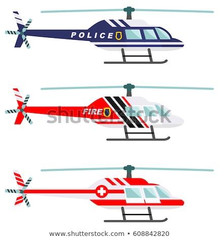 Rendőrség helikopter vektor illusztráció izolált fehér Stock fotó © konturvid