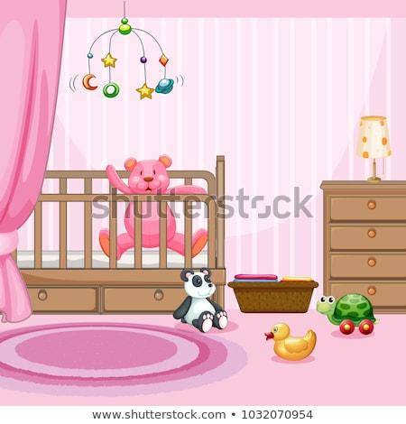 Bedroom scene with pink teddybear in babycot Stock photo © colematt