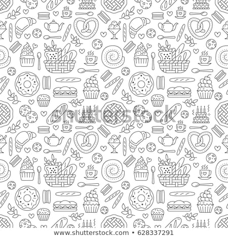 Bakery and pastry products icons set pattern Stock fotó © netkov1
