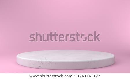White Round Podium Pedestal Scene With Pink Background Stock photo © barbaliss