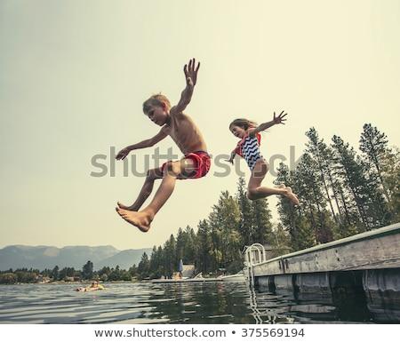 úszik · gyerekek · izolált · fehér · úszó · lány - stock fotó © colematt