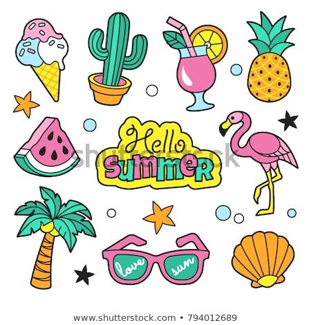 Foto stock: Coleção · verão · símbolos · eps · 10 · praia