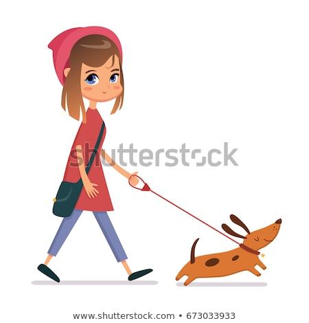 Studenten park lopen hond riem huisdier Stockfoto © robuart