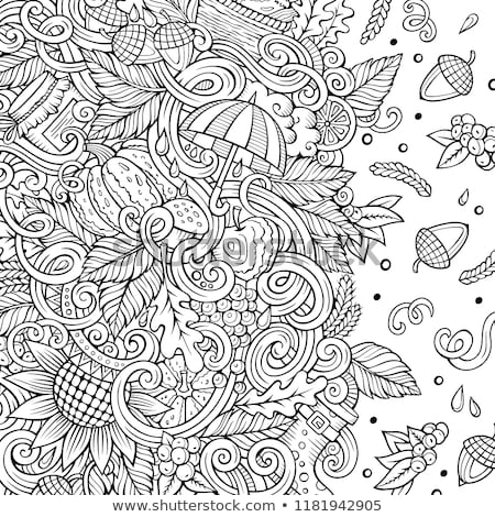 Cartoon doodles Autumn frame design. Sketchy fall funny border Stock photo © balabolka