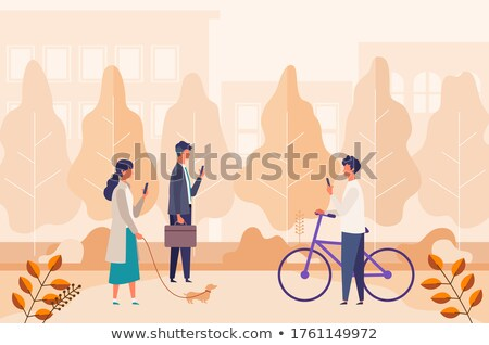 Businessman Talking on Phone in City Park Vector Stock photo © robuart