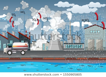 Factories and car produce air pollution Stock photo © bluering