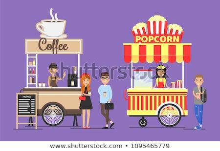 Pipoca vendedor cliente comida vetor Foto stock © robuart