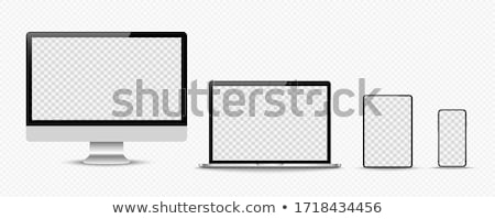 Mock-up empty computer screen monitor on a white background. Stock photo © artjazz