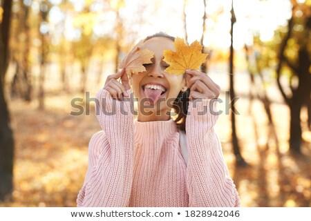 Image femme sur langue yeux Photo stock © deandrobot